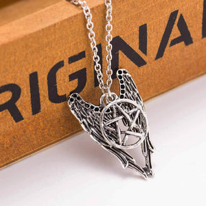 Supernatural necklace pentagram Pentacle Castiel angel wings vintage antique silver pendant jewelryintothea-intothea