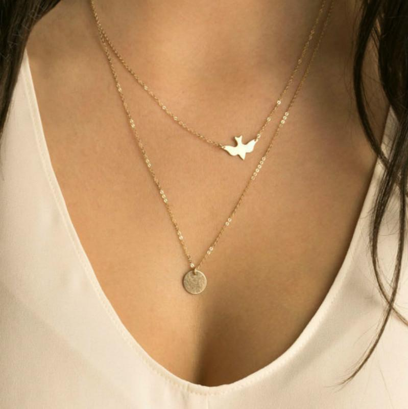 Hot Sale Fashion Layering Necklace Gold Delicate Gold bird Necklace / Doveintothea-intothea
