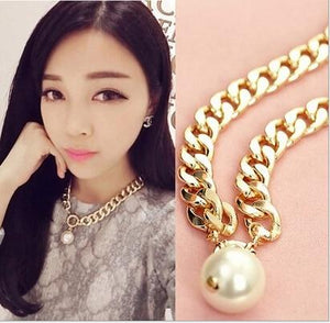 Luxury Women European Style Exaggerated Large Simulated Pearl Pendant Short Design intothea-intothea