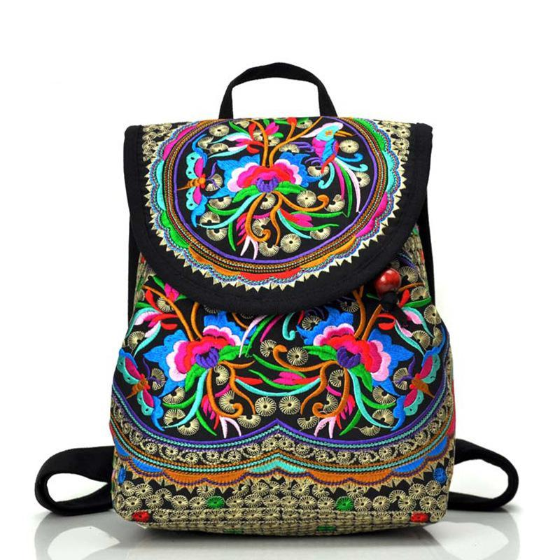 National trend canvas embroidery Ethnic backpack women handmade flower Embroidered Bag Travelintothea-intothea