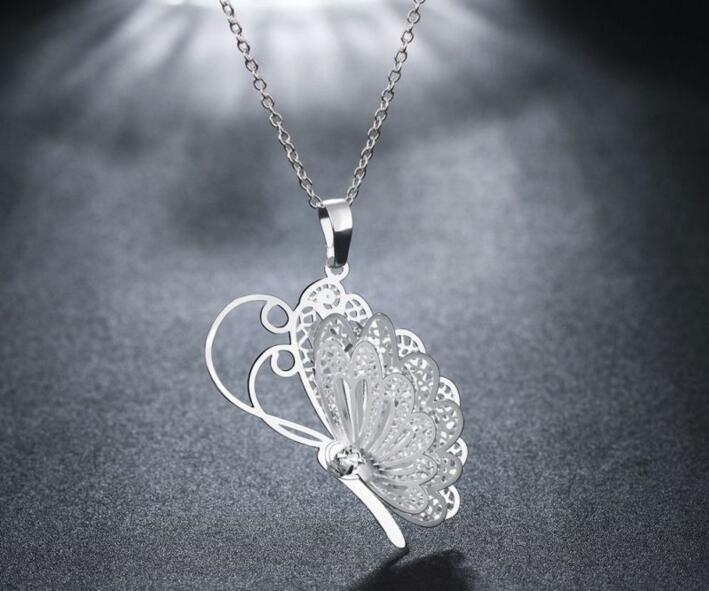 Fashion 3 Layer 3D Crystal Rhinestone Silver Plated Butterfly Wing Necklaces Longintothea-intothea