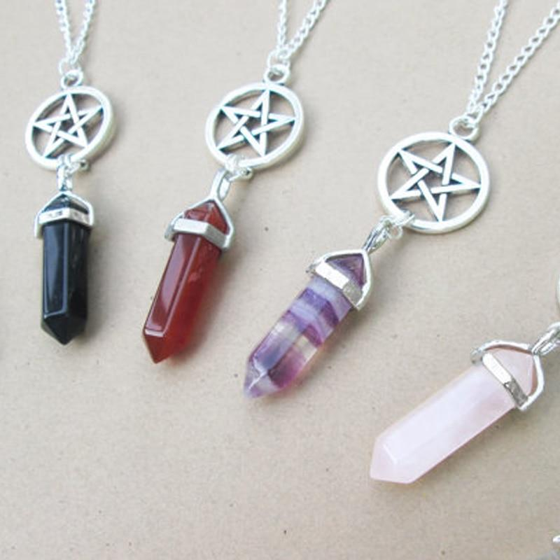 Handmade Jewelry Crystal Point Necklace Pentagram Necklace XL423intothea-intothea