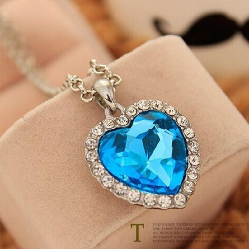 Movie Titanic Heart Of Ocean Pendant Necklace Blue Heart Necklace Crystal Rhinestoneintothea-intothea