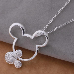 fashion silver Mouse pendant necklace with crystal cute birthday gift forintothea-intothea