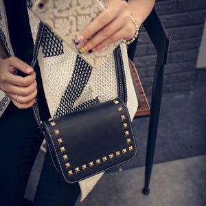 Fashion Women Small PU Leather Messenger Bags Rivet Crossbody Shoulder Bags Femaleintothea-intothea
