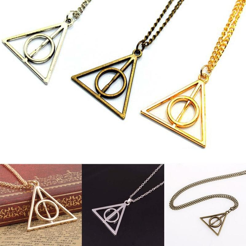 Wholesale H-arry P-otter Deathly Hallows Necklace Triangle Gift Antique Silver Gold Movieintothea-intothea