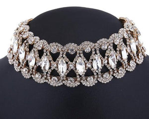 Luxury Hollow Flower Crystal Rhinestone Choker Collar Necklaces Women Gold Silver Chainintothea-intothea