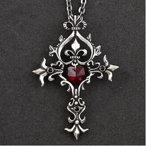 Trendy Movie Vampire Diaries Gothic Fantasy Red Cross Necklace Punk Style Menintothea-intothea
