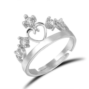 Prince Princess Lover Silver Couple Rings Wedding Band His and Her Promiseintothea-intothea