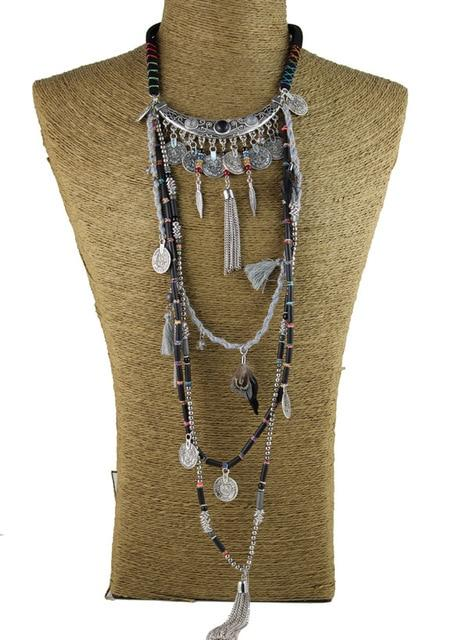 Gypsy Statement Vintage Long Necklace Ethnic jewelry boho necklace tribal collar Tibetintothea-intothea