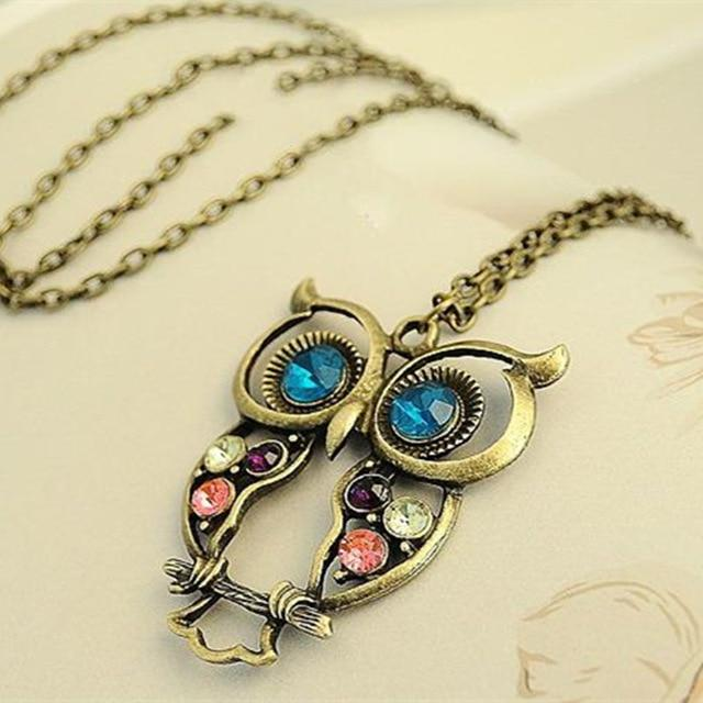 Vintage Necklaces Women Owl Feather Heart Butterfly Cat Pendant Necklace Antique Collaresintothea-intothea
