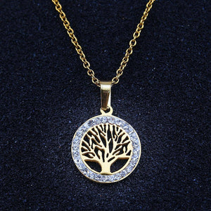 Tree of Life Necklaces Pendants Shiny Crystal Chocker Necklace Steel Gold Womenintothea-intothea