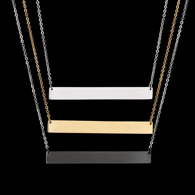 New Personalized Blank Bar Pendant Necklace 3 Colors Stainless Steel Custom Nameintothea-intothea