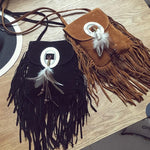 2017 Female Small suede Bag Brown Beaded Feathers Hippie American Indian Tribalintothea-intothea