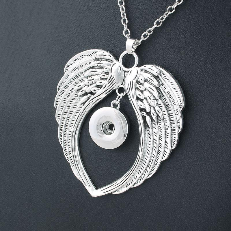 2017 New Fashion Beauty Pendant Wings Snaps necklace fit DIY 18MMintothea-intothea