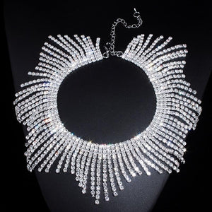 New Fashion Rhinestones Tassel Collar Choker Necklaces For Women Luxury Wedding Jewelryintothea-intothea