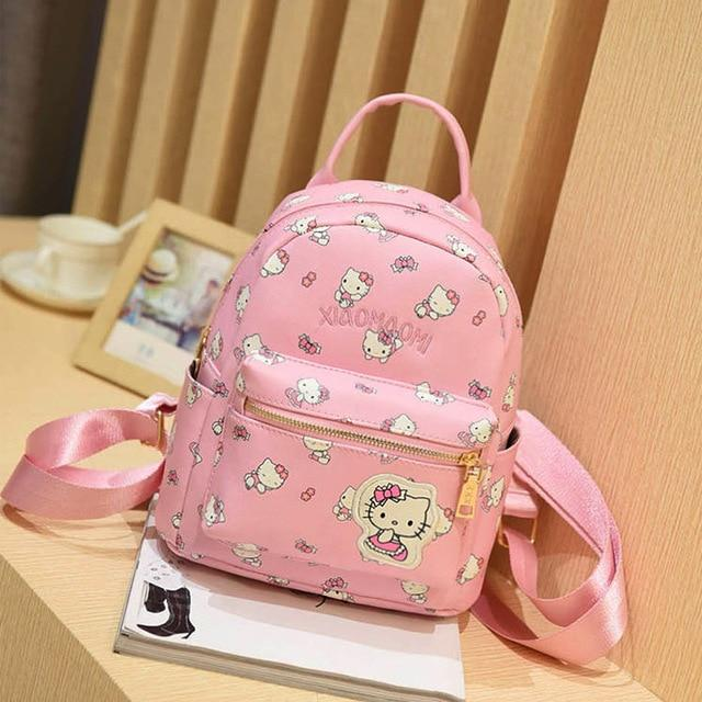 2016 Fashion Women hello kitty pu Leather Backpack School Bags for Teenageintothea-intothea