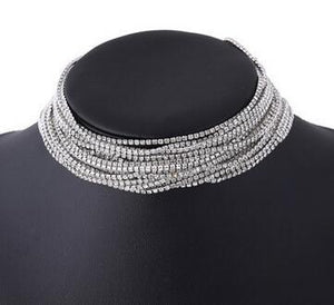 Layered Rhinestone choker Maxi Statement Necklace 2017 Big sparkly choker Fashion jewelryintothea-intothea