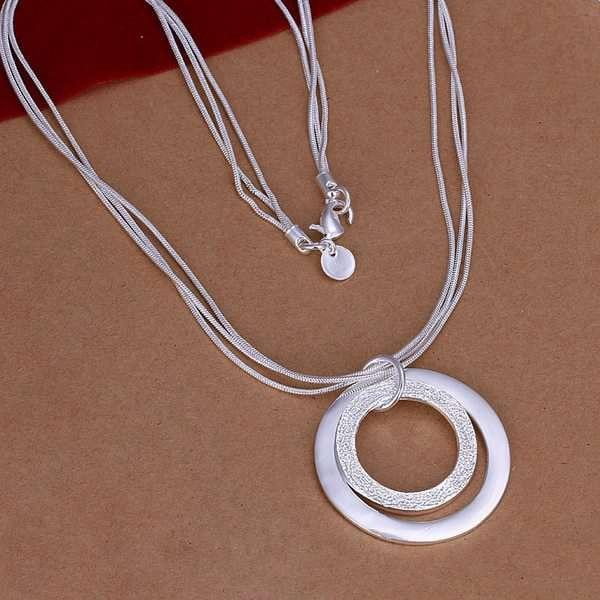 Wholesale silver plated Necklaces & Pendants,925 Jewelry silver,Dual Circle Necklace SMTN056intothea-intothea