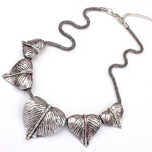 Match-Right Vintage Heart Leaves Statement Necklace Women Necklaces & Pendants Colarintothea-intothea