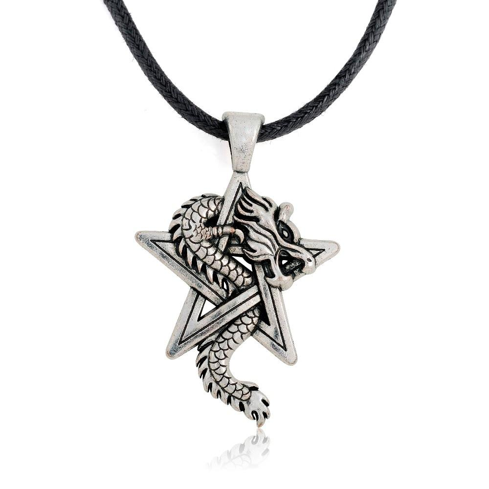 Pewter Dragon on Pentacle Pentagram Star Gothic Fantasy Pendant Mens Leatherintothea-intothea