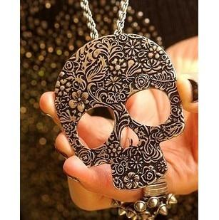 ZOSHi Fashion Long Necklaces Women Hollow Skull Gold/Silver Color Chain Maxi Necklacesintothea-intothea