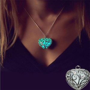 Fancy&Fantasy Glowing Necklace Heart Pendant Necklace Luminous glow locket hollow out necklaceintothea-intothea
