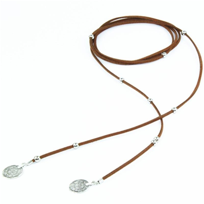 Bohemian Gothic Brown Leather Metallic Coin bead Pendant Charms Long Choker Necklaceintothea-intothea