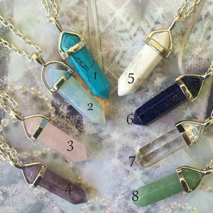 Crystal Pendant Necklaces Opalite White Howlite Lapis Clear Quartz Crystal Aventurine Crystalintothea-intothea