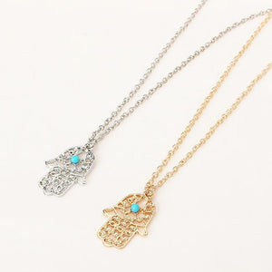 2017 New Vintage Brand Design Gold Color Luck Hamsa Hand Pendants Necklaceintothea-intothea