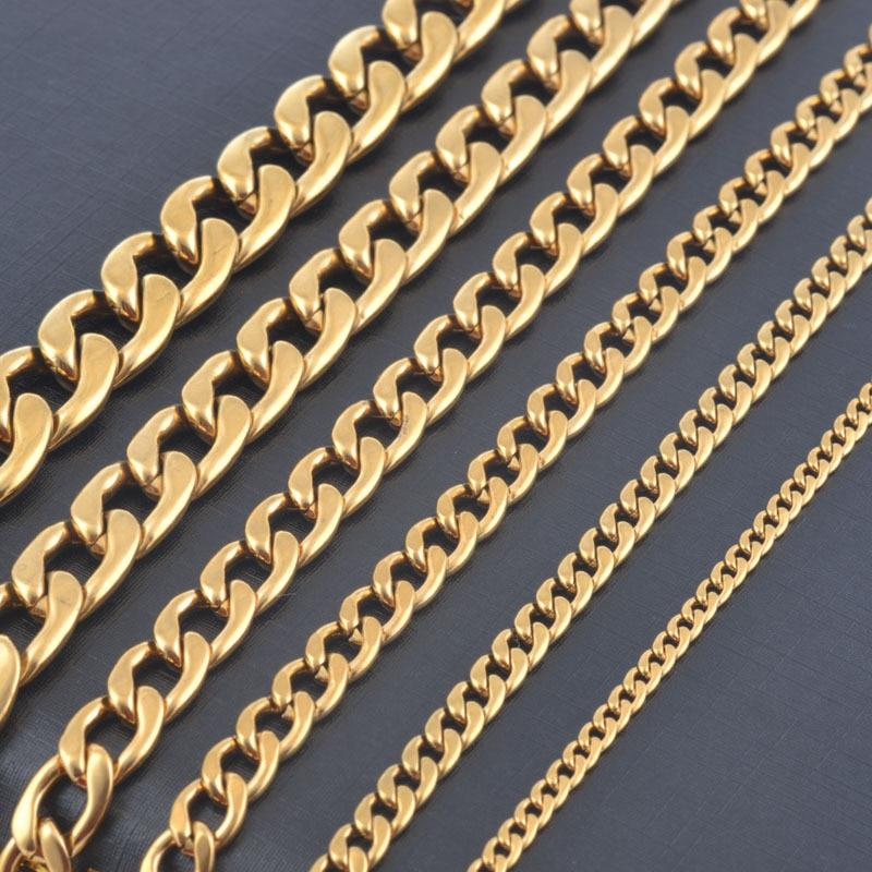 Width 3mm/4.5mm/6mm/7.5mm/9.5mm/11.5mm Stainless Steel Gold Color Chain High Quality Men Cuban Chainintothea-intothea