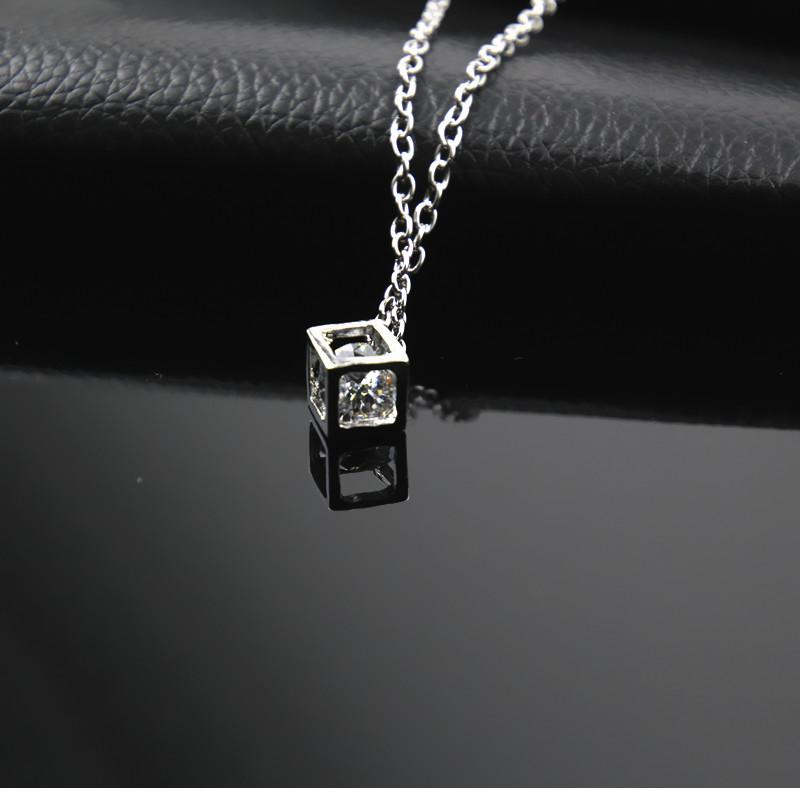 Simple Style Cubic Zirconia Necklaces &Pendants Silver Color Fashion Jewelry For Womenintothea-intothea