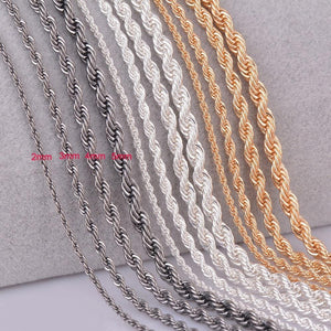 1 piece silver gold Gunmetal black Rope chain personalzied length 2mm 3mmintothea-intothea
