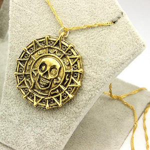 Pirates Of The Caribbean Necklace Aztec Skeleton Skull Heads Pendant Gold/Bronze Platedintothea-intothea