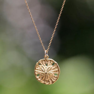 Gold sand dollar necklace - delicate necklace - gold sandintothea-intothea