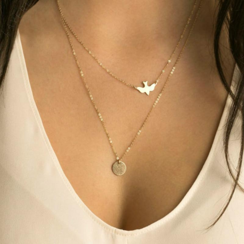 American Jewelry Summer Fashion Lady All-match Double Dove Pendant Necklaces Wholesale Statementintothea-intothea