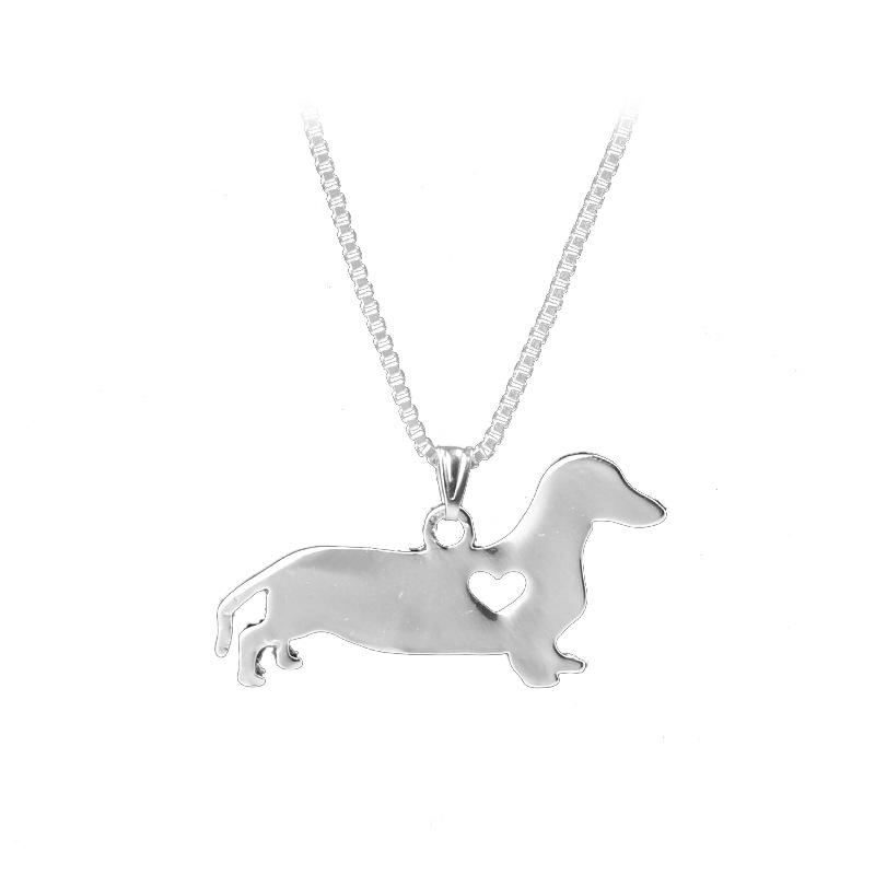 Dachshund Animal Models Puppy Necklaces dog pet lover rescue silver color Hollowintothea-intothea