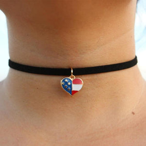 New Leather Velvet Short Gothic Heart Star Moon Flag Triangle Necklace Tattoointothea-intothea