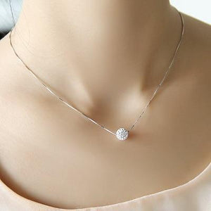 S925 pure silver necklace female short design crystal Shambhala ball chain elegantintothea-intothea