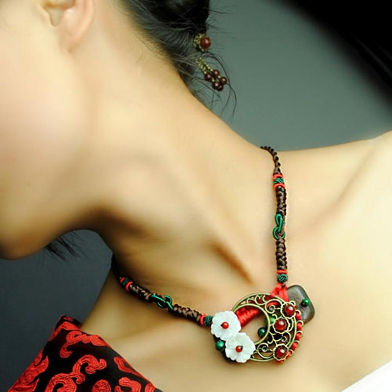 vintage choker necklace for women short chain shell flower red carnelian stoneintothea-intothea