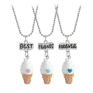 3 pcs/set Best Friends Forever BFF Ice-cream Pendant Necklace Women Kid Girlintothea-intothea
