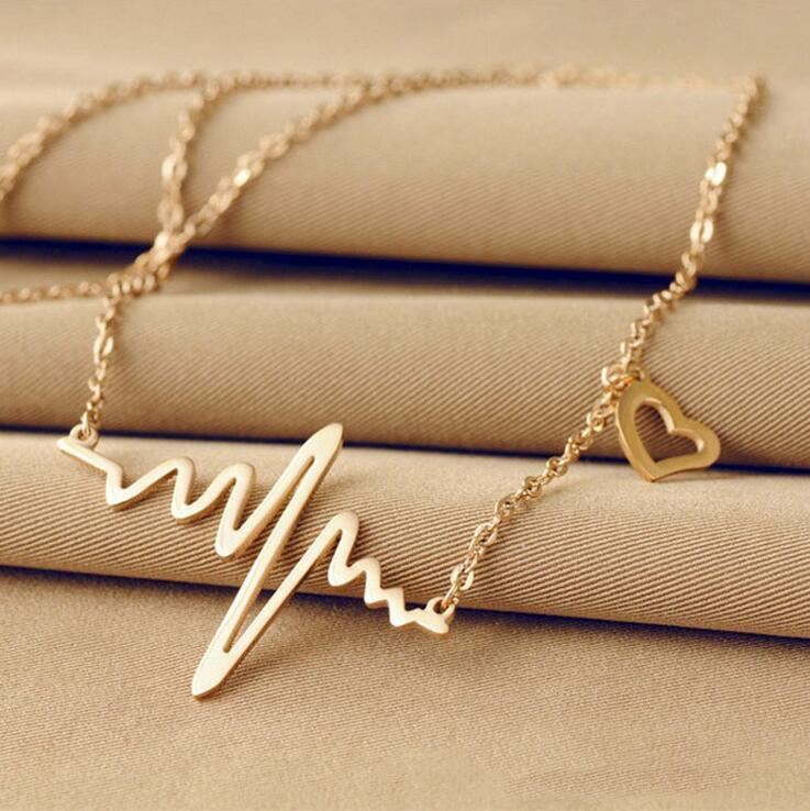Wave Heart Chic ECG Heartbeat Rose Gold/Silver Color Pendant Charm Necklacesintothea-intothea