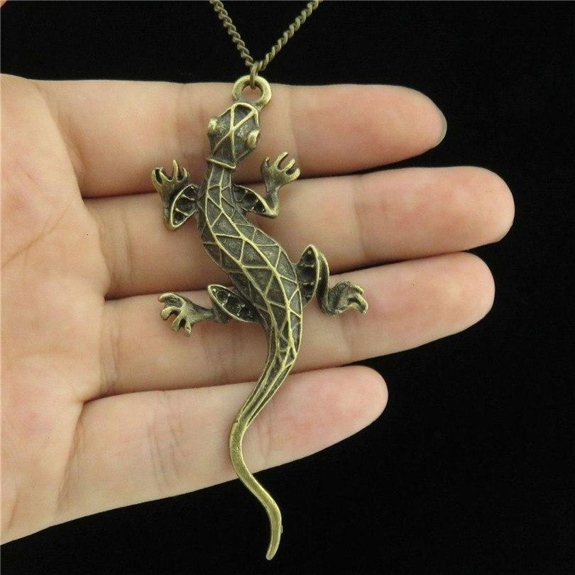 Q10A88 Bronze Alloy Women Men Jewelry Animal Lizard Cabrite Pendant Shortintothea-intothea