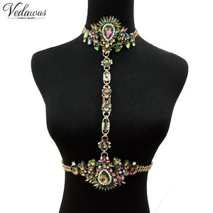 Bohomian Fashion Jewelry Multicolor Crystal Choker Maxi Necklace Bracelets Body Statementintothea-intothea