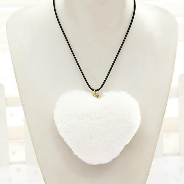 New Fashion Long Rope Leather Pink/Gray/Rose Faux Fur Heart Pendant Necklace Womenintothea-intothea