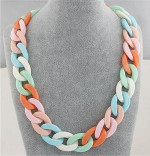 Statement Chunky Long Chain Necklaces For Women Boho Colorful Plastic Chain Chokerintothea-intothea