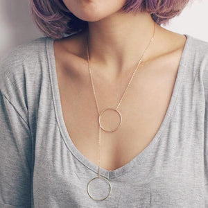 Delicate simple everyday infinity necklace - large double circles long lariat halointothea-intothea