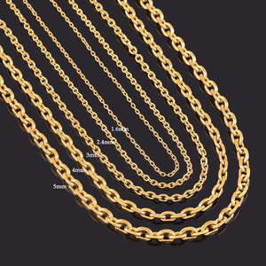 Width 1.6mm/2.4mm/3mm/4mm/5mm Stainless Steel Rolo Chain In Gold Color High Quality Charmintothea-intothea