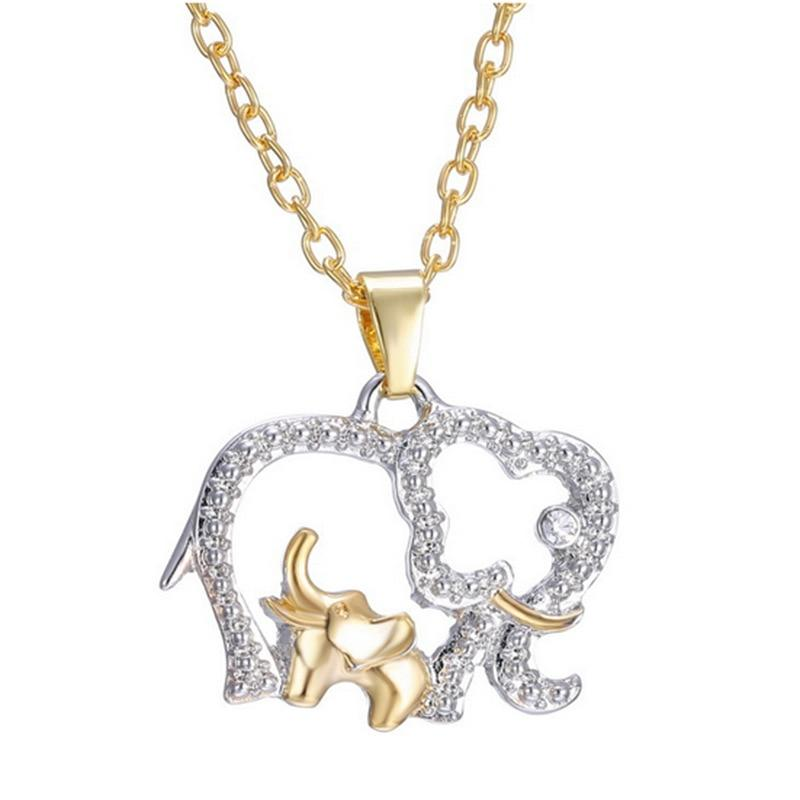 Elephant with Baby Pendant Necklaces Jewelry for Mother Hot Gold Silver Platedintothea-intothea