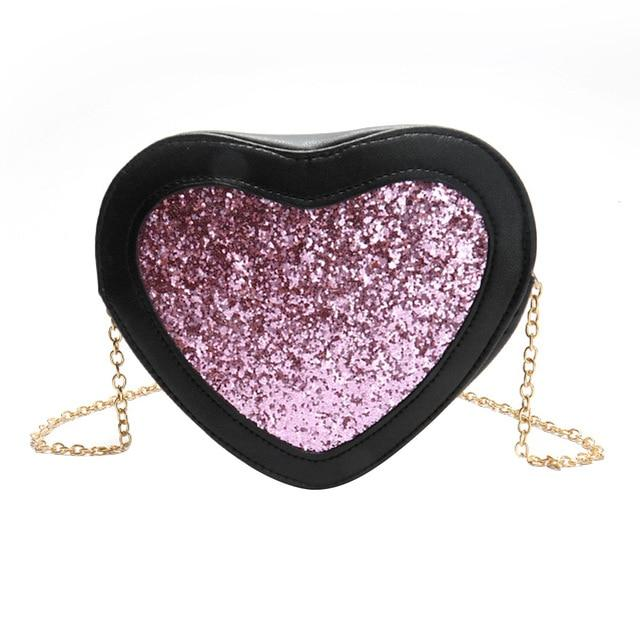 New Bling Bags Heart Shaped Messenger Bags PU Leather Women Messenger Bagintothea-intothea